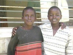 Tyson and his friend from school at Machakos, Central Kenya