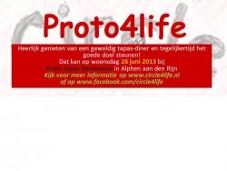 Banner Proto4life sponsordiner, Proto Tapas Restaurant, Circle4life, 26 juni 2013