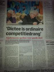het Algemeen Dagblad, vrijdag 13 maart 2015, Groot Alphens Dictee, sponsoring, Circle4life, Soroptimistclub international Alphen aan den Rijn